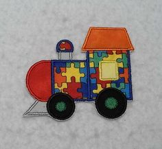 Train Autism Awareness Puzzle Piece - MADE to ORDER - Choose SIZE - Tutu & Shirt Supplies - fabric Iron on Applique Patch 7447 by TheFabricScene on Etsy