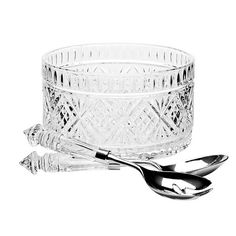 3-piece crystal salad serving set with 1 bowl and 2 serving utensils.   Product: 1 Salad bowl and 2serving utensils...