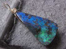 Opalanhänger - Boulder Opal - gold - blaugrün