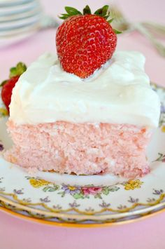 Strawberry Sheet Cake with Lemon Frosting looks like a great refreshing cake for the summer time :)