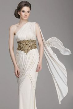 Ivory draped saree with golden detailing Cheap Bridal Dresses, Cheap Wedding Dress, Saree With Belt, Wedding Dress Necklines, Beaded Chiffon, Saree Dress, Ivory Dresses, Draped Dress, Saree Styles