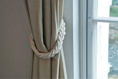 Chunky White Cotton Rope Braided Curtain Tie Backs / nautical living room window treatment/ Drape hold backs/ shabby chic curtain tiebacks by AndreaCookInteriors on Etsy