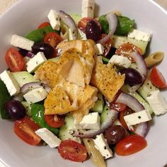 Greek salade  Olives, tomato, red, salmon and feta.