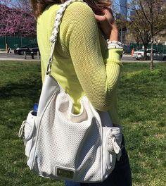 white mesh handbag--perfect for spring