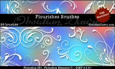 Obsidian Dawn Photoshop & GIMP Brushes - Flourishes (various swirls and ornamentation designs, all original and all high resolution!)