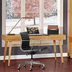 A staunch office desk that's made in America  Mid- 20th-century European design and old-world American craftsmanship.