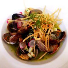 clam pozole, rancho gordo hominy, green garlic