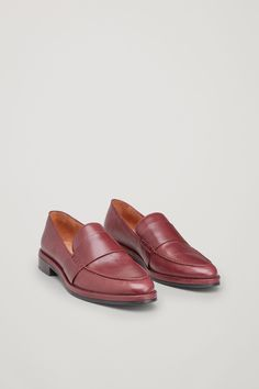 COS image 2 of Classic leather loafers in Maroon