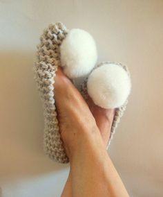 BEIGE slippers for Women, Chunky knit Slippers, Genuine Rex Rabbit fur pompom, Women's shoes - Home Flats - Winter accessories - NENAKNIT