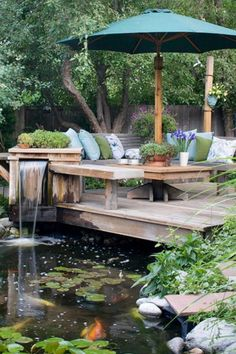 Backyard pond and deck, I would love to have this in my backyard!