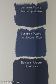 Benjamin Moore navy blue paint color ideas http://involvingcolor.com/blog/choosing-a-navy-paint-color/