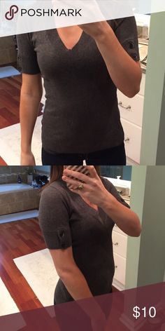 Gray V Neck Short Sleeve Sweater Great sweater for work. It's really flattering. Sleeves have a button on them. In great condition! Will accept all reasonable offers! Ann Taylor Sweaters V-Necks