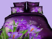 3D 보라색 꽃 침구 세트 퀸 사이즈 침대 커버 이불 커버 시트 가방 시트 100% 면