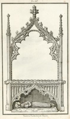 """""""Tomb in Pucklechurch Church"""" drawn and etched by Samuel Lysons, published in his Collection of Gloucestershire Antiquities, 1803"""