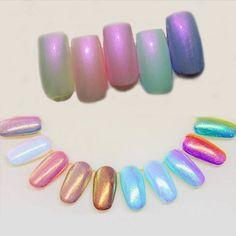 1 Box 3g Mermaid Nail Glitter Powder Pretty Gradient Shimmer Glitters Pigment Nail Powder Dust Laser Nail Art Decorations