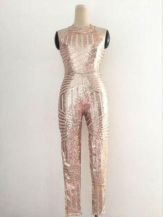 Bonnie Forest Popular Gold Sequins Jumpsuit Romper Summer Women Glitter Halter Open Back Party Jumpsuit Female Overalls Clubwear