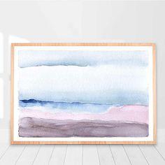 Pink Blue Watercolor printable Modern Pink Blue Watercolor Print, Modern Wall Art Printable, Watercolor Abstract Printable Wall Print