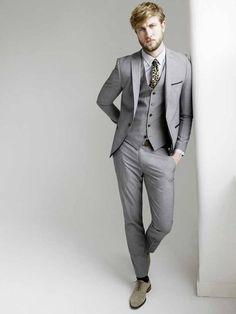 Grey three-piece suit £195, tie £10, all Topman, topman.com; shirt ...