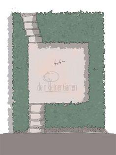 Skizze, handgezeichnet, coloriert, Aufsicht eines Reihenhausgartens mit zentraler Terrasse und umliegenden Beeten, ein Wohnzimmer-Garten Sketch, Lawn, Porches, Living Room