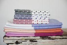 Rikumo Japan-Made Two Tone Linen Chambray Towels