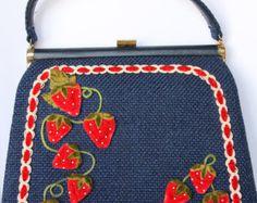 Vintage JR FLORIDA USA Strawberries, Velvet, Tweed 1960's Handbag/Purse