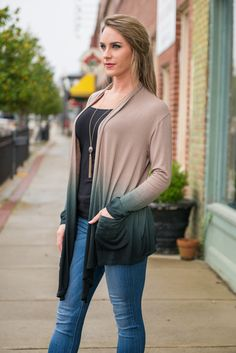 We can't take our eyes off this cardi! The way one color fades to the other is just beautiful!  Material has a generous amount of stretch. Mary Peyton is wearing the small. Sizes fit: Small- 0-4; Medium- 6; Large- 8-10