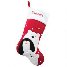 d4af0918d 24 Inch Personalized Penguin And Polar Bears Red Velvet Stocking