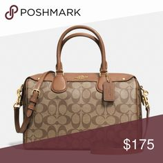 Coach Bennett Satchel in Signature Signature coated canvas Inside zip, cell phone and multifunction pockets Zip-top closure, fabric lining Handle with 4 1/2 drop Strap with 22 drop for shoulder or crossbody wear 11 1/4 (L) x 7 3/4 (H) x 6 (W) Coach Bags Satchels