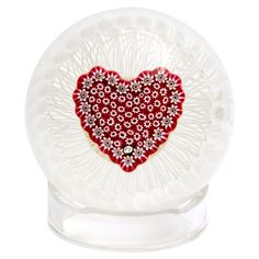 Paul Ysart Millefiori Heart In Basket Paperweight | From a unique collection of antique and modern glass at https://www.1stdibs.com/furniture/dining-entertaining/glass/