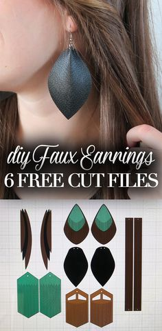 DIY Faux Leather Eating Tutorial with Free Cut Files! DIY Faux Leather Eating Tutorial with Free Cut Files! Image Size: 736 x 1500 Source Leather Jewelry Making, Diy Leather Earrings, Diy Jewelry Making, Diy Earrings, Hoop Earrings, Diy Jewelry Unique, Recycled Jewelry, Craft Jewelry, Diy Jewelry Tutorials