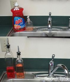 Use olive oil jars for a stylish way to hold your liquid soaps!