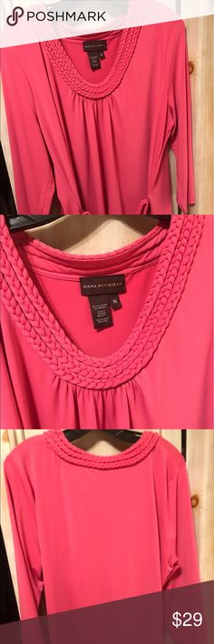 Dana Buchman Hot Pink Tunic Braided Neckline XL This is a great coir top the Braided detail makes this top look very expensive with Braided. Belt overhead size XL Dana Buchman Tops Tunics