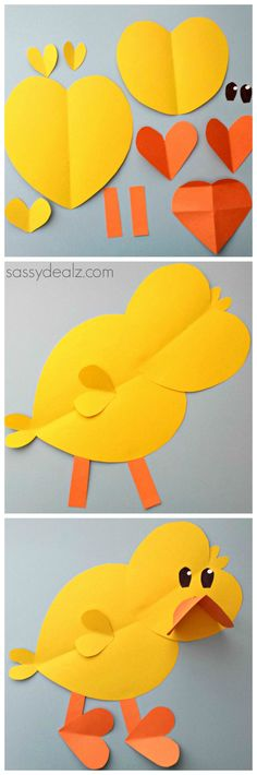 Chick Craft For Kids made out of paper hearts #DIY #Easter art project #Valentines heart shape animal | CraftyMorning.com