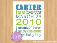 11x14 Custom Birth Print birth announcement by SimpleandStunning2, $26.00