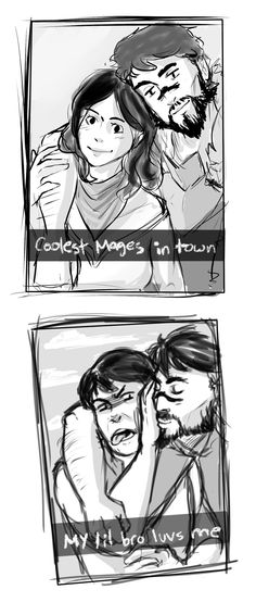 Accurate description of the Hawke siblings Dragon Age Hawke, Dragon Age 2, Dragon Age Origins, Dragon Age Inquisition, Dragon Age Comics, Dragon Age Memes, Dragon Age Funny, Kawaii, Funny Comics