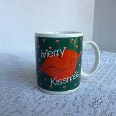 Vintage Merry Kissmas Coffee Cup / Ceramic Christmas Mug / Christmas Gift by Enesco / Boyfriend Gift / Girlfriend Gift by vintagepoetic on Etsy