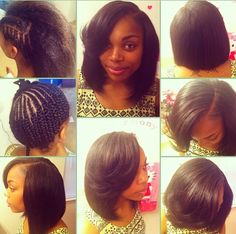 This short bob sew in looks amazing! You can't even tell it's not all her own hair!