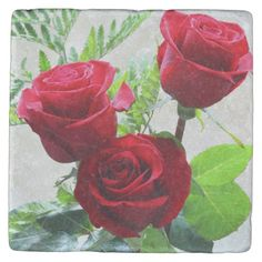 Red roses stone coaster
