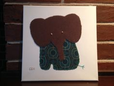 Sitting Elephant #2 Fabric Wall Art by CottonwoodCove on Etsy