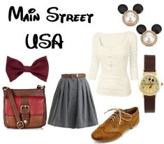 Cute Disney inspired outfit Main Street USA at Magic Kingdom park Disneyland Outfits, Disney Bound Outfits, Disney Dresses, Disney Clothes, Disneyland Rides, Dapper Day Outfits, Cool Outfits, Moda Disney, Disney Inspired Fashion
