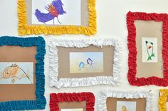 """""""recycled frames"""" for kids artwork!  1 1/2"""" wide fabric stitched down the middle and gathered...cereal boxes cut into """"frame"""" mats...so cute!"""