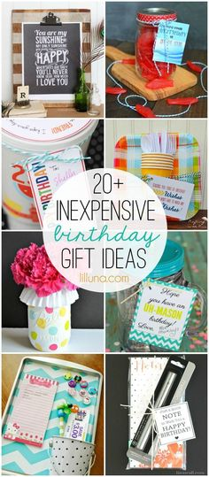 20+ Inexpensive birthday gift ideas - must check out all these good ideas for easy and inexpensive gifts! on { http://lilluna.com }