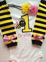 Bumble Bee First Birthday Baby Outfit