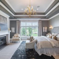 Dining Room Tray Ceiling Design Ideas: Gray Bedroom With Tray Ceiling Grey Bedroom Design, Gray Bedroom, Home Bedroom, Bedroom Decor, Gray Bedding, Bedding Sets, Bedroom Ideas, Master Bedrooms, Bedroom With Sofa