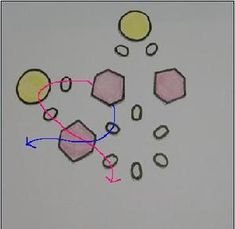 次はピンクで示したテグスに、 丸小、B、丸小の順に通し、 テグス青は、手順2で通した丸小に通して、 Aで交差します。 Handmade, Design, Hand Made, Handarbeit