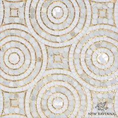 Orson, a hand cut mosaic shown in Shell, honed Thassos, 24K Gold Glass and polished Calacatta Pennyrounds, is part of the Aurora™ Collection by Sara Baldwin for New Ravenna.