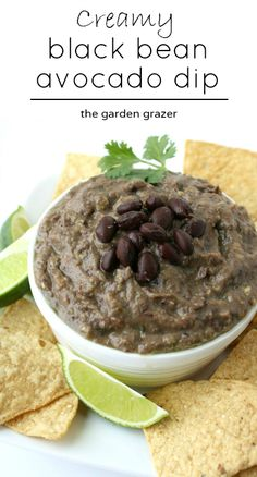 Only 5 minutes to make!! Black beans and avocado are blended together to make a healthy, deliciously creamy dip (vegan, gluten-free)