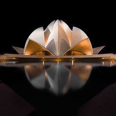 Black Lotus by Mathijs van den Bosch. (Lotus Temple in New Delhi, India) Architecture Antique, Futuristic Architecture, Beautiful Architecture, Contemporary Architecture, Art And Architecture, Futuristic Houses, Pavilion Architecture, Contemporary Building, New Delhi