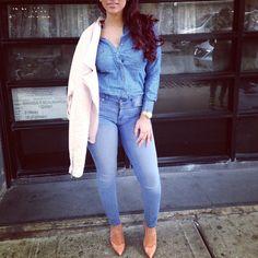 Cyn Santana Full Denim Outfit Fashion Style