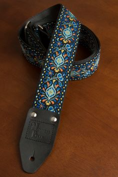 Blue/Orange/Black Vintage-styled Guitar Strap
